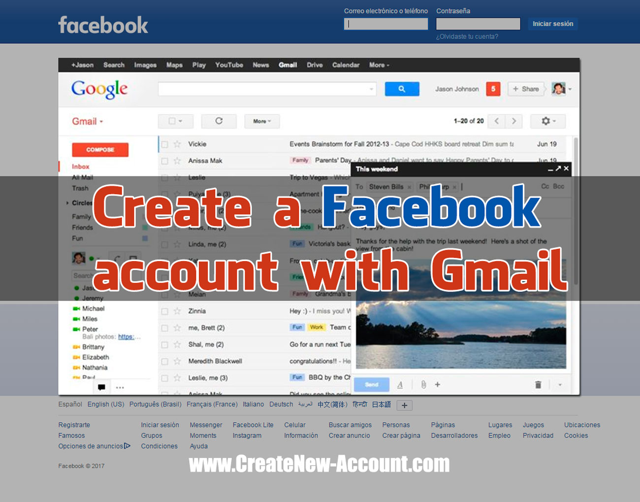 Using Gmail To Create A Facebook Account Create New Account